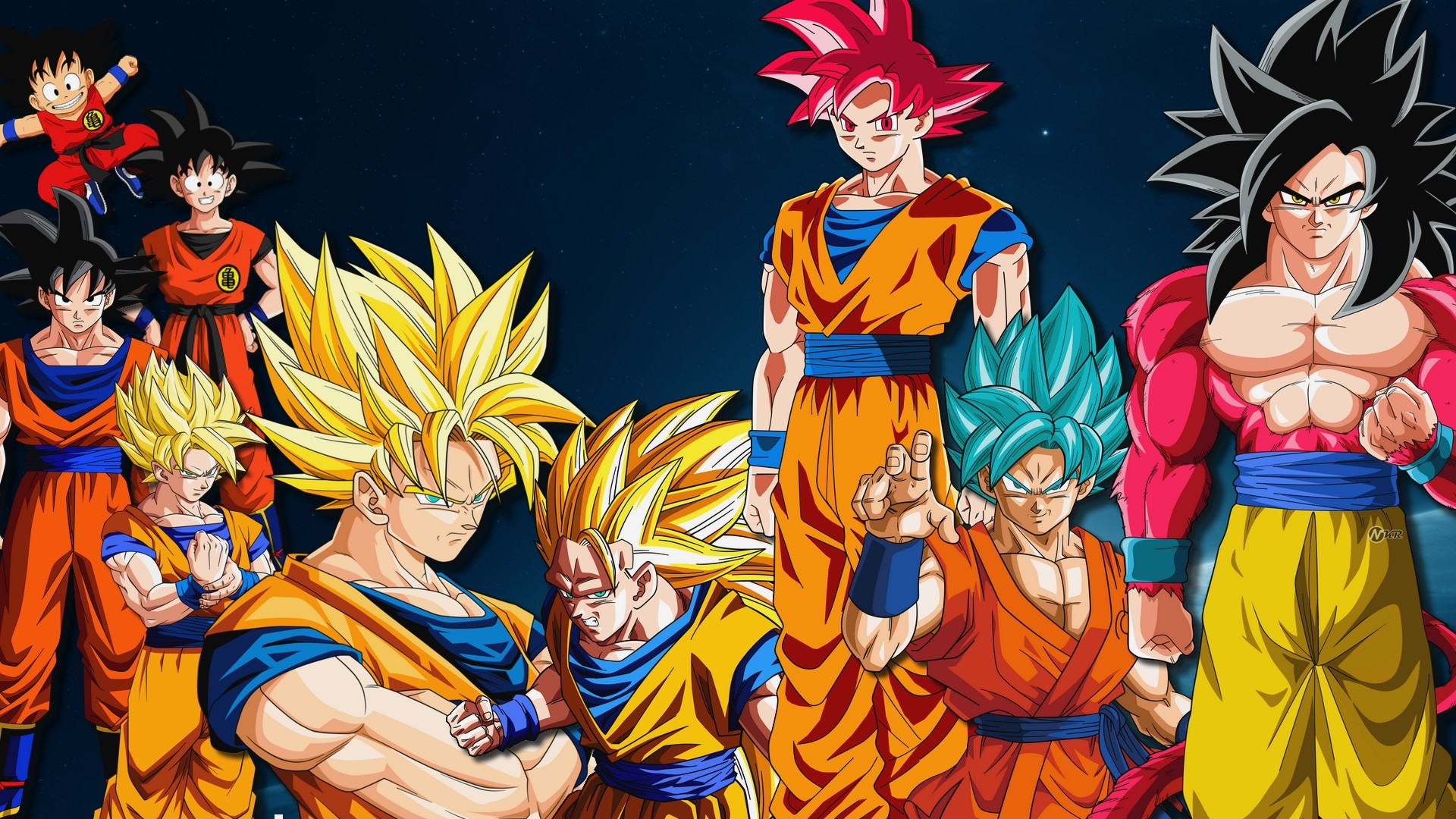 Fond d 39 ecran goku versions wallpaper for Fond ecran dbz