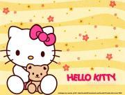 Hello Kitty en jaune et peluche