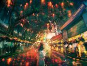 Pluie dans la ville de nuit