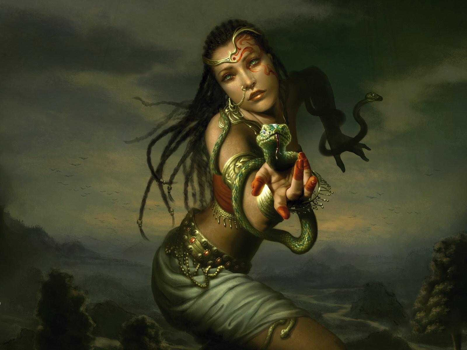 Serpentine... 5116-femme-au-serpent-WallFizz