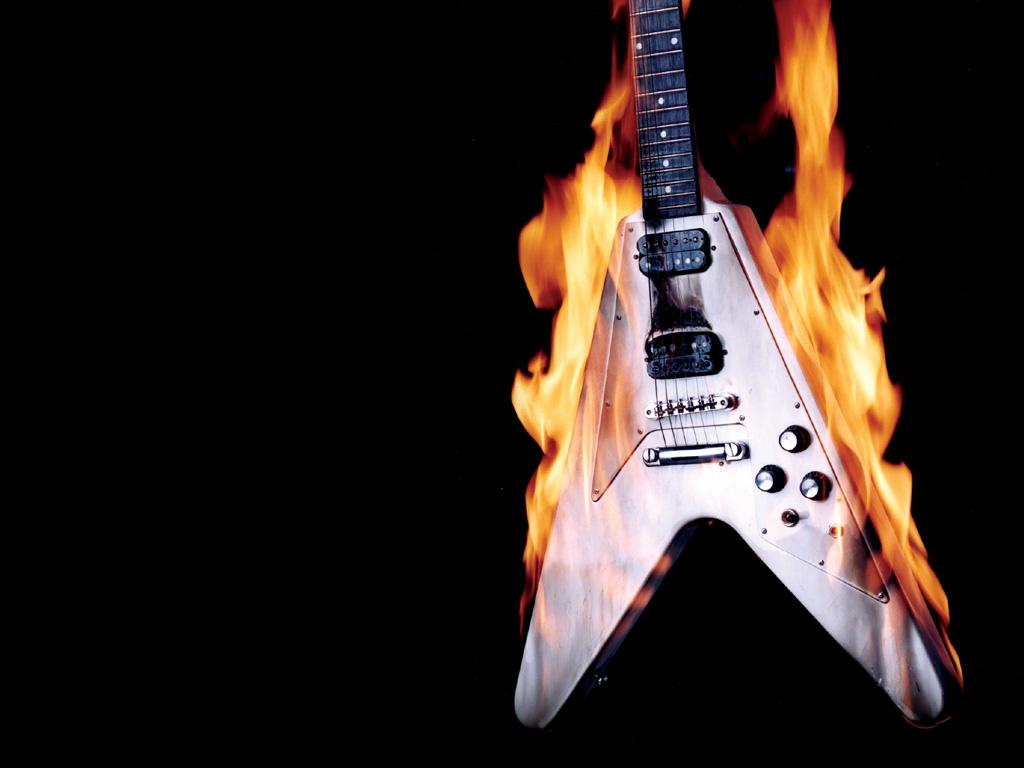 Fond d'ecran Fire Guitare - Wallpaper