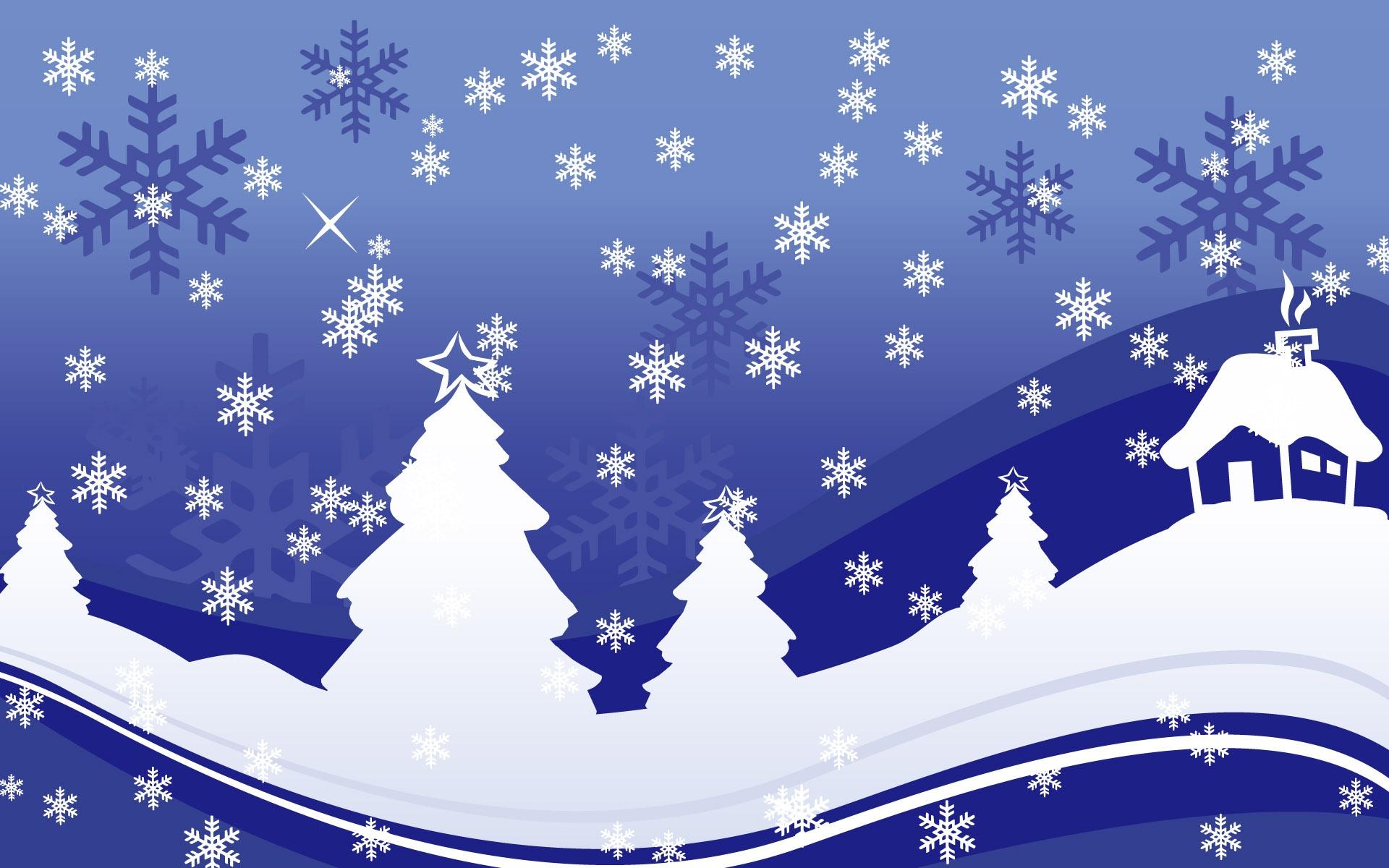 Fond d'ecran Flocons neige maison Noel - Wallpaper