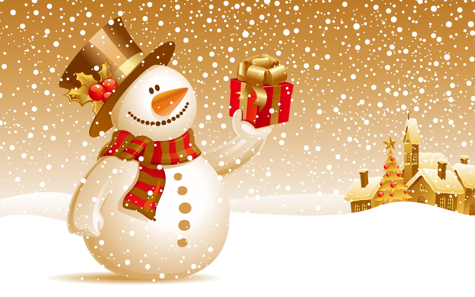 Fond d'ecran Bonhomme de neige Cadeaux - Wallpaper