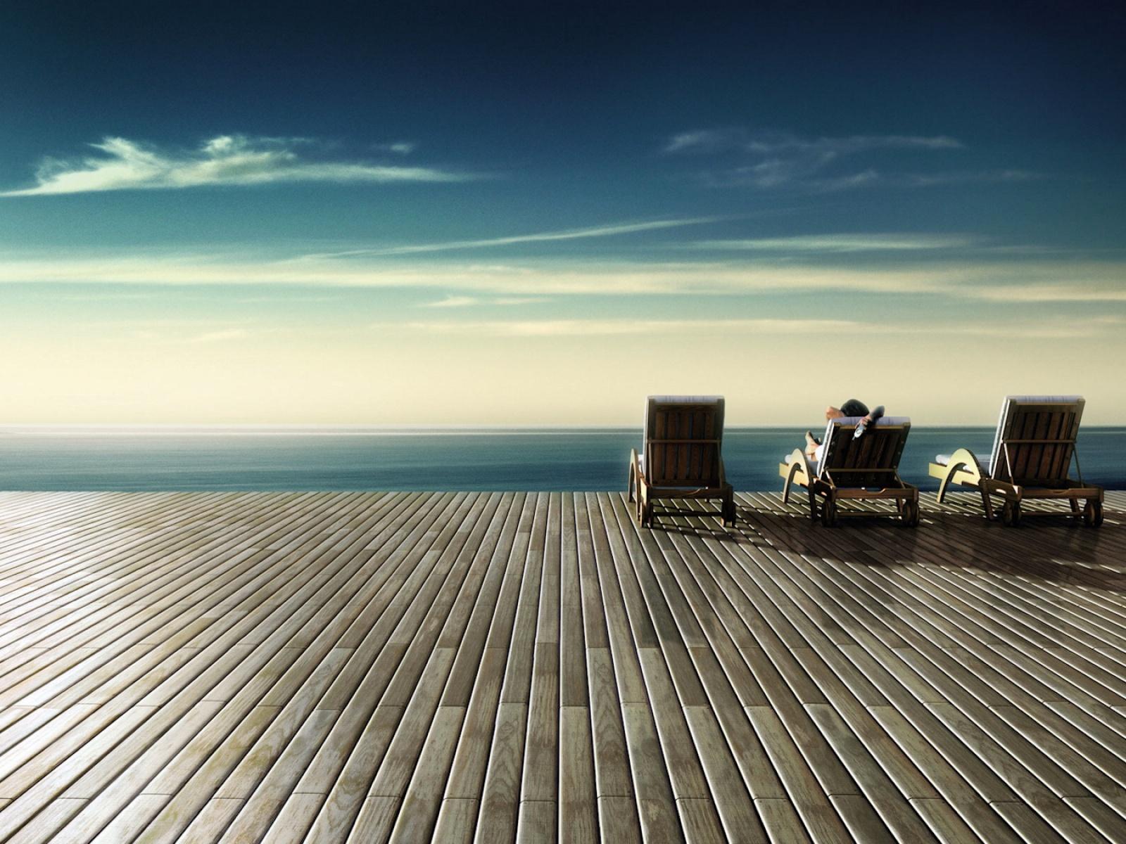 Fond d 39 ecran transats avec vue mer wallpaper for Photo ecran mer