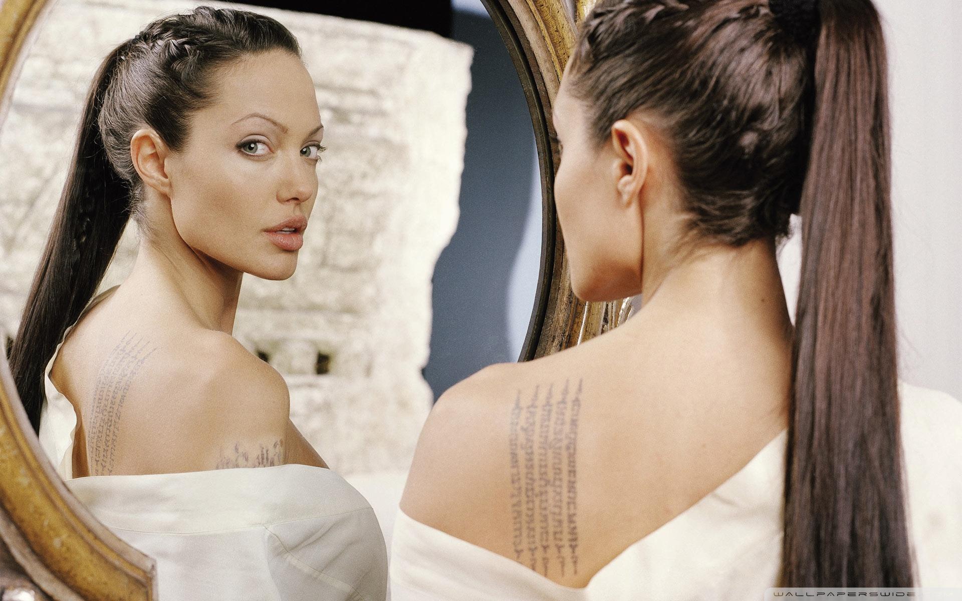 Fond d 39 ecran angelina jolie miroir wallpaper for Miroir wallpaper