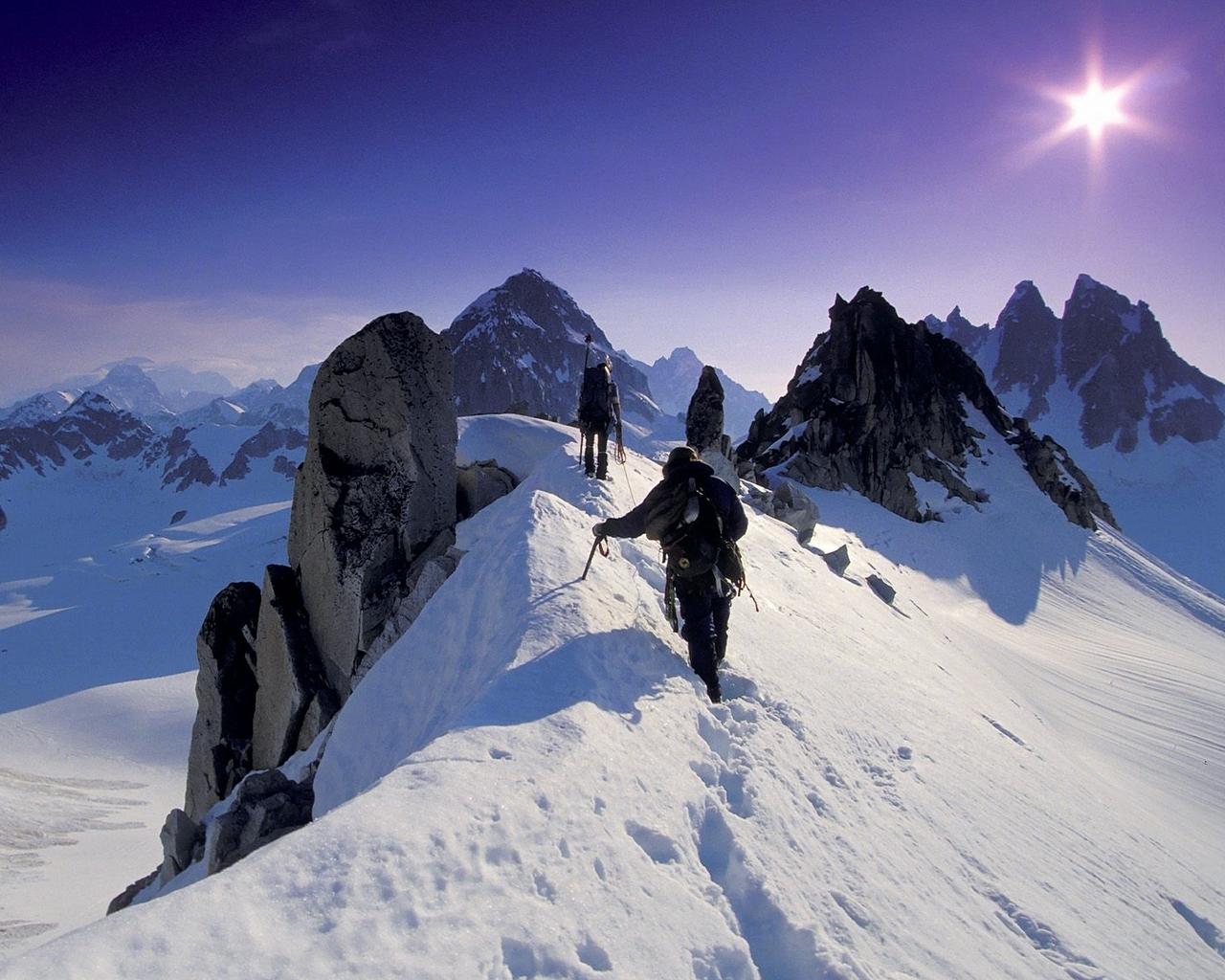 Fond d 39 ecran alpinistes sommet montagne wallpaper for Fond ecran montagne
