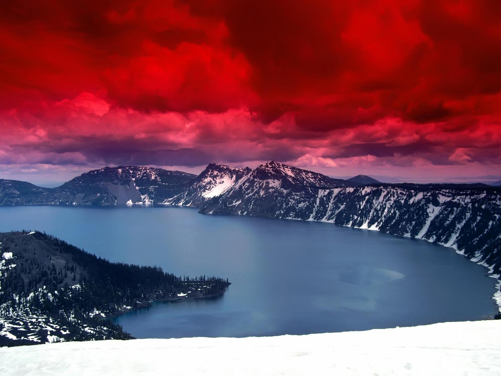Fond d 39 ecran montagnes ciel rouge wallpaper for Fond ecran montagne