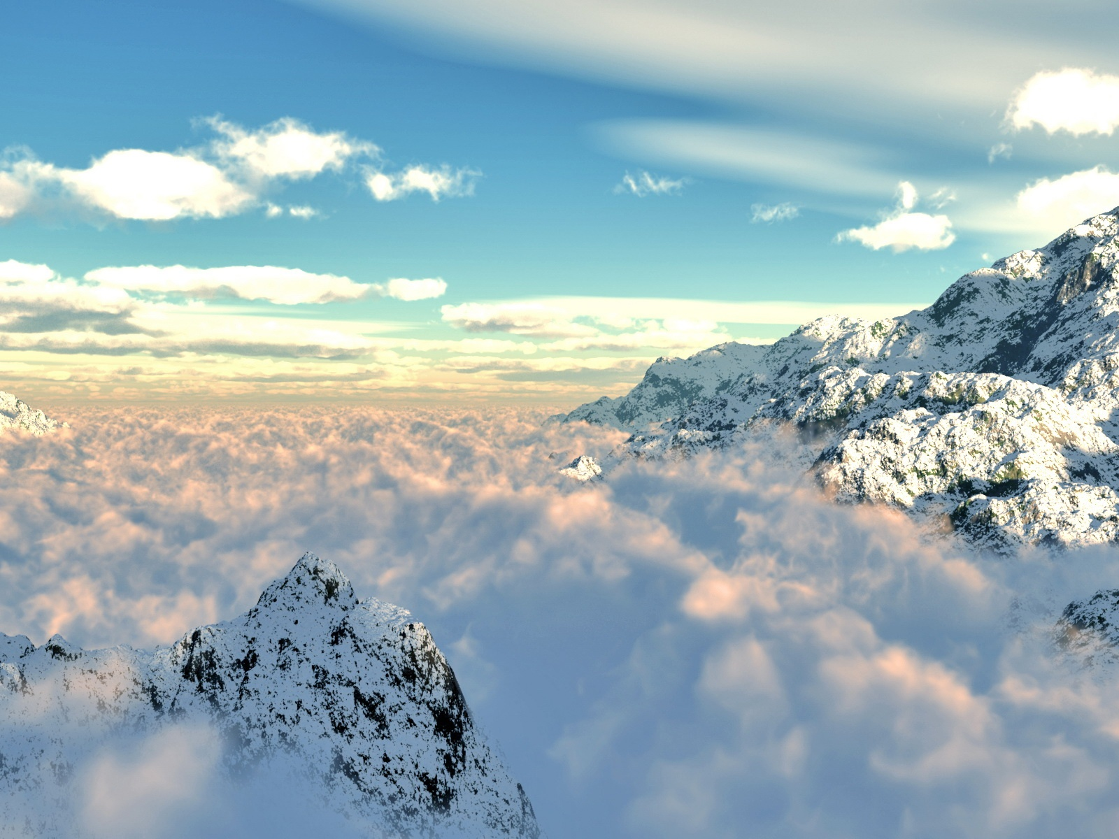 Fond d 39 ecran montagne perdue dans les nuages wallpaper for Fond ecran montagne