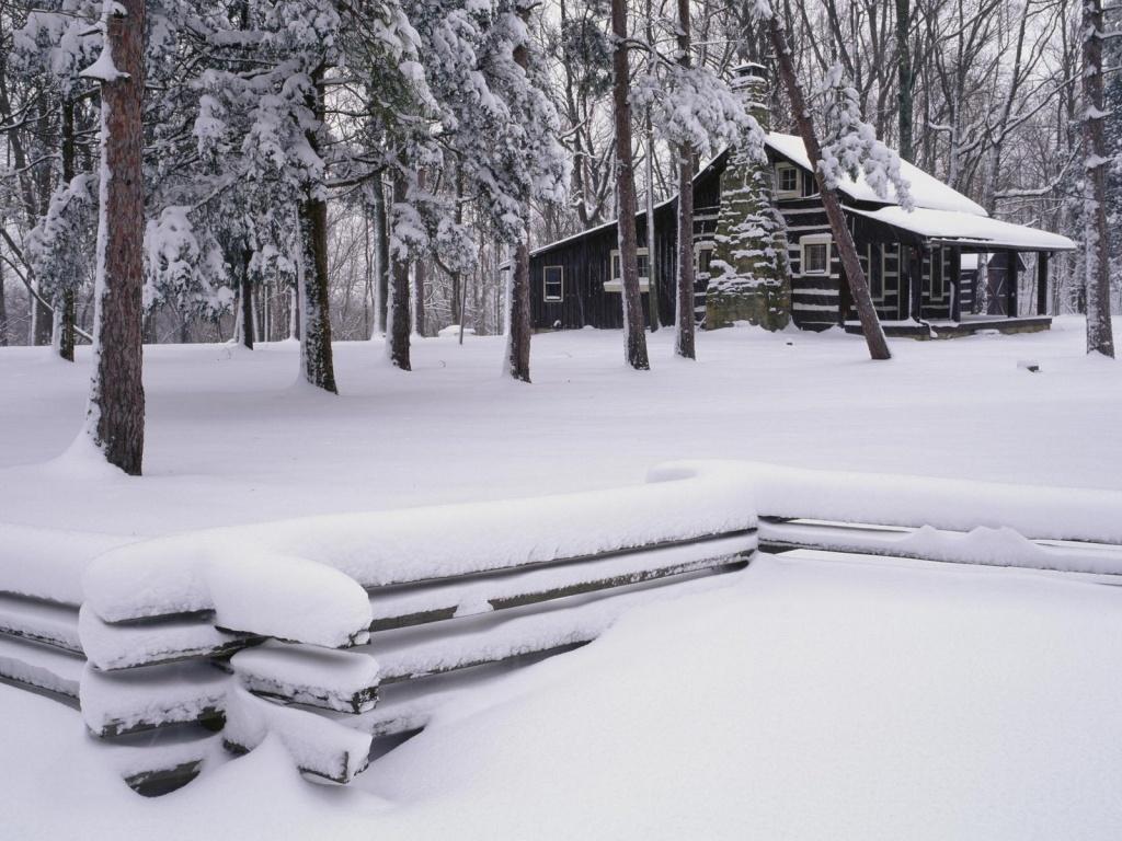 dans fond ecran neige 3429-chalet-enneige-dans-les-bois-WallFizz