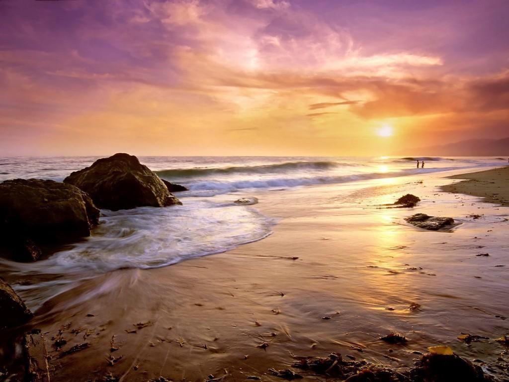 Fond d'ecran Couché de soleil sur la plage
