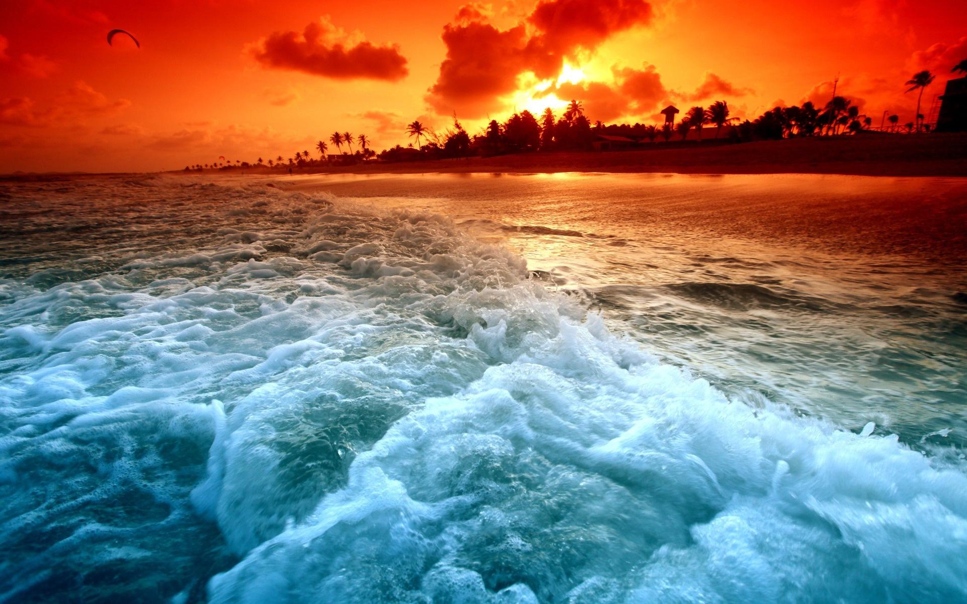 Fond d'ecran Vagues plage paradisiaque - Wallpaper