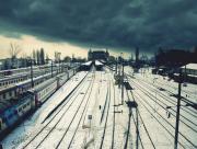 Gare voies ferrées sous la neige