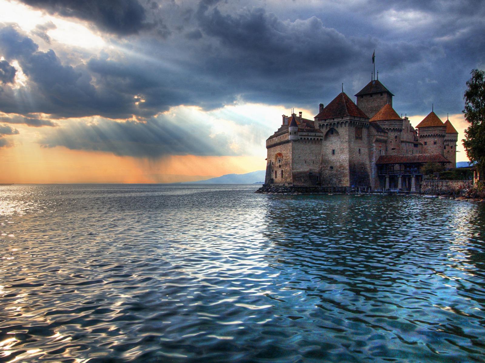 Fond D Ecran Chateau Fort Sur L Eau Wallpaper