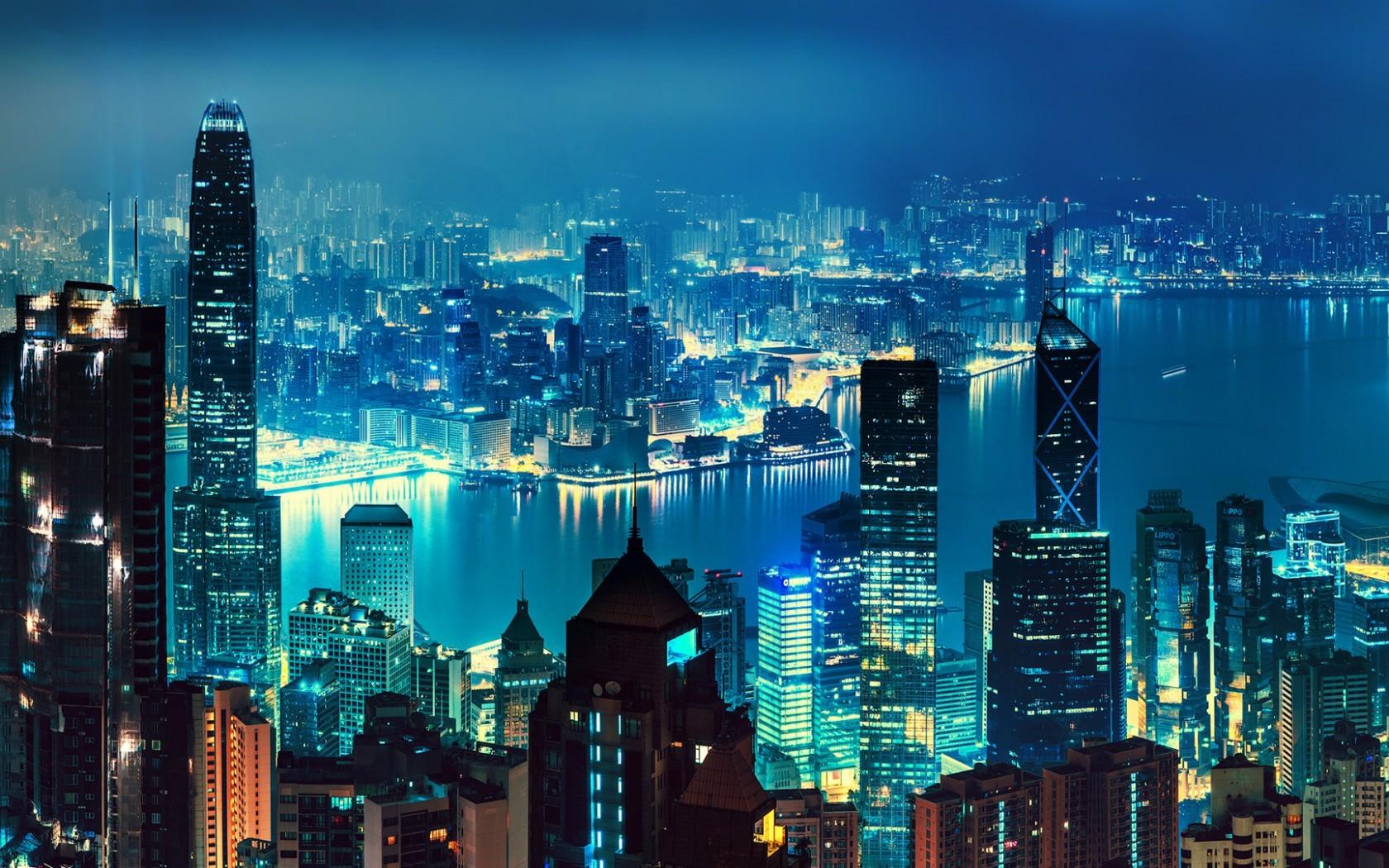 Fond d'ecran Baie ville moderne asiatique - Wallpaper